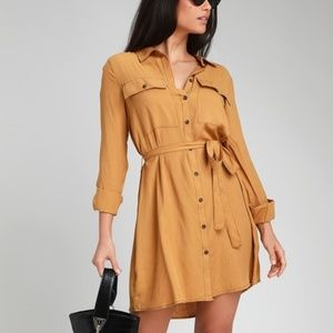 LULUS Fall Jackson Camel Long Sleeve Shirt Dress